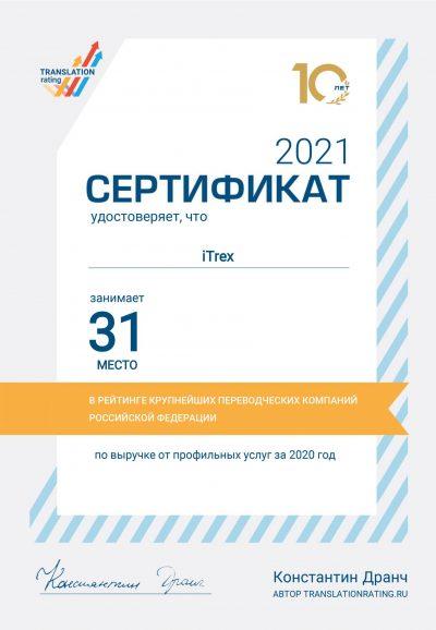 Рейтинг бюро переводов за 2021 г.